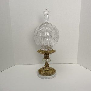 Crystal Candy Bowl W/Lid Brass Footed Marble Base